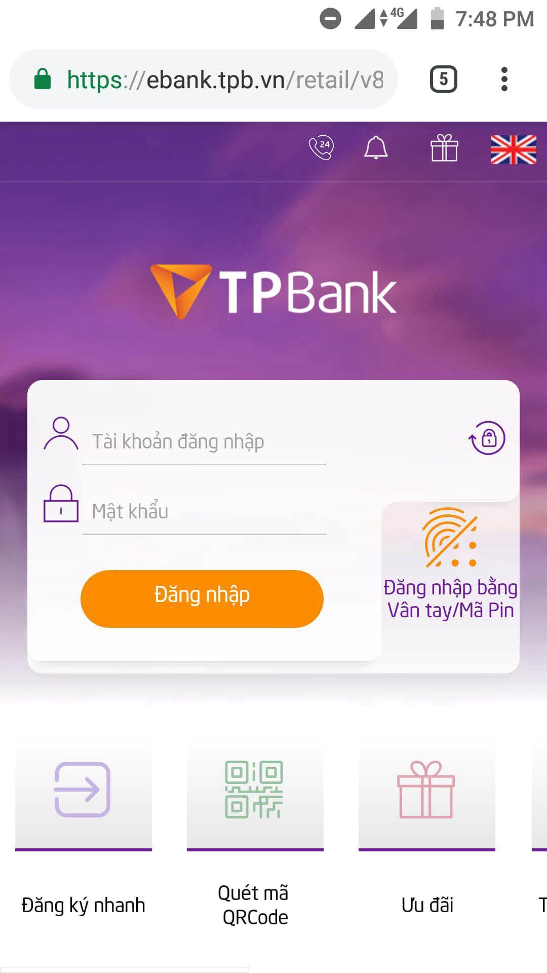 liên kết ví điện tử momo với ngân hàng tpbank 1