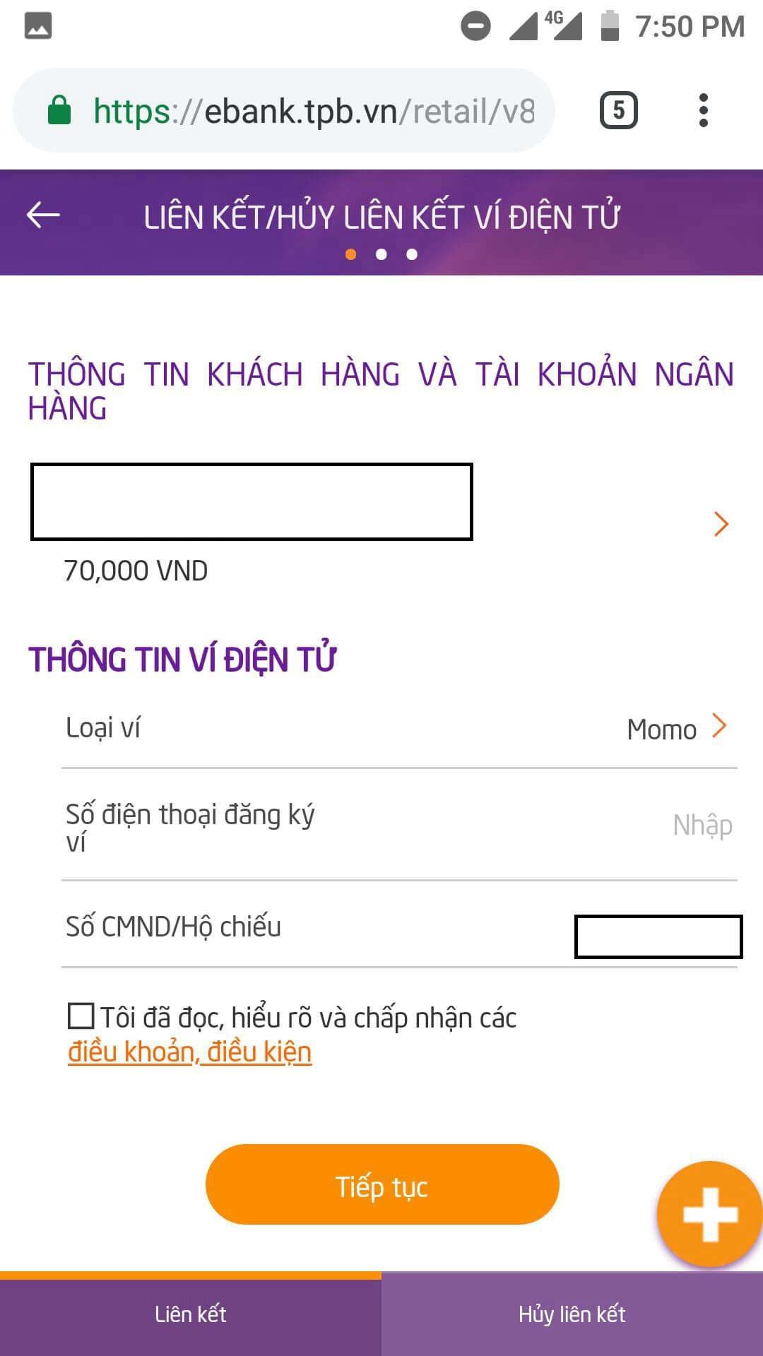 liên kết ví điện tử momo với ngân hàng tpbank 4