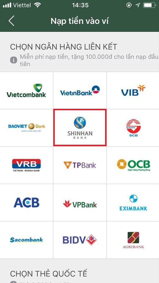 liên kết ví momo với ngân hàng shinhan